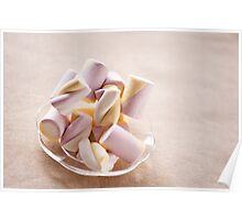 Puffy marshmallows twists on plate Poster