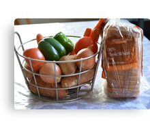 Vegetables and whole wheat bread. Canvas Print