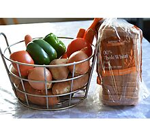 Vegetables and whole wheat bread. Photographic Print