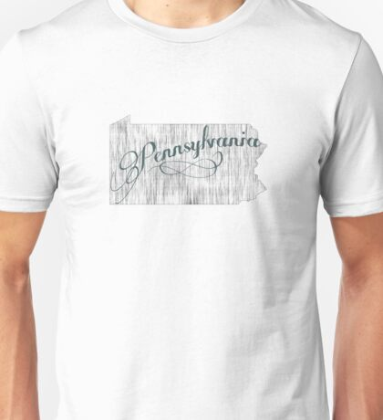 Pennsylvania State Typography Unisex T-Shirt