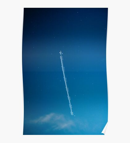 Eight Seconds of a Plane in the Night Sky Poster