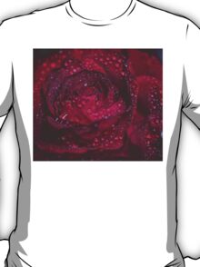 Wet Red Rose Grunge Macro 6 T-Shirt