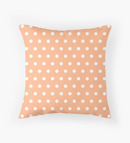 Small White Polka Dots on Peach background Throw Pillow