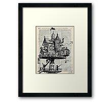 Steampunk house Howl Dictionary Art Framed Print