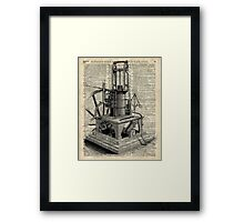 Steampunk machine Vintage Dictionary Art Framed Print