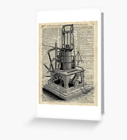 Steampunk machine Vintage Dictionary Art Greeting Card