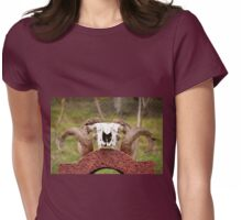 ram antlers on skull  Womens Fitted T-Shirt