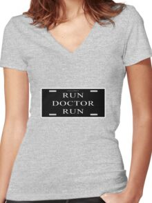 Run Doctor Run! Women's Fitted V-Neck T-Shirt