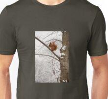 Squirrel sitting on twig in snow Unisex T-Shirt