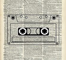 Retro Vintage Music Casette - Dictionary Book Page Art by DictionaryArt
