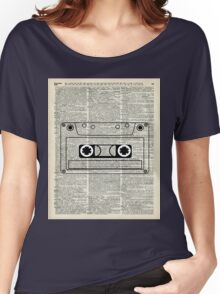 Retro Vintage Music Casette - Dictionary Book Page Art Women's Relaxed Fit T-Shirt