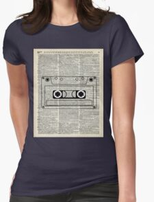 Retro Vintage Music Casette - Dictionary Book Page Art Womens Fitted T-Shirt