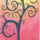 Blue Tree Drawing Pastel with Prisma Marker by Michelle Clifton