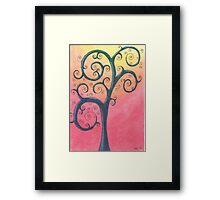 Blue Tree Drawing Pastel with Prisma Marker Framed Print