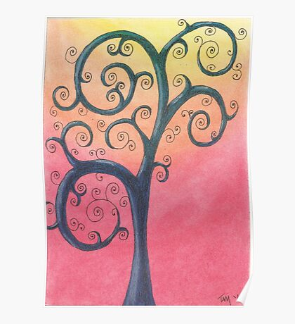 Blue Tree Drawing Pastel with Prisma Marker Poster