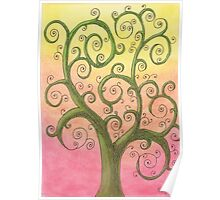 Green Tree Drawing Pastel with Prisma Marker Poster