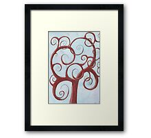 Red Tree with Blue Background Drawing Pastel Framed Print