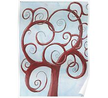 Red Tree with Blue Background Drawing Pastel Poster