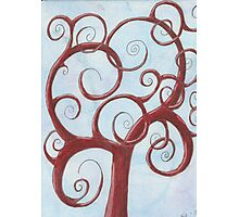 Red Tree with Blue Background Drawing Pastel Photographic Print
