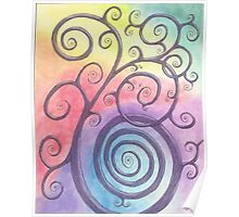 Purple Briar Swirl Drawing Pastel with Prisma Marker Poster