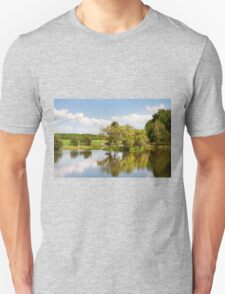 Lake and trees rural landscape Unisex T-Shirt