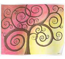 Brown Tree Drawing Pastel with Prisma Marker Poster