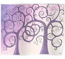 Purple Trees Drawing Pastel with Prisma Marker Poster
