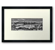It's All Black and White - Sydney Harbour (20 Exposure HDR Panoramic) - The HDR Experience Framed Print