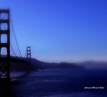 Golden Gate in Blue hues by Charmiene Maxwell-Batten