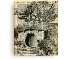 The Bag End,Black And White Illustration,Hobbit House,Vintage Dictionary Art Canvas Print