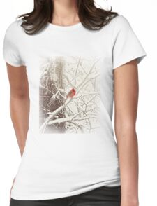Frost Covered Cardinal One Winter Morning Womens Fitted T-Shirt