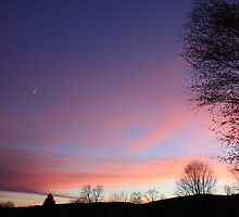 Sunset with Moon by Megan Schatzman