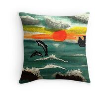 Fun times before the storm, watercolor Throw Pillow