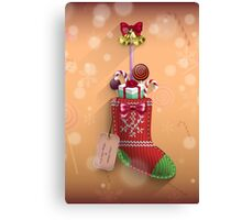 Knit Stocking Christmas Card Canvas Print