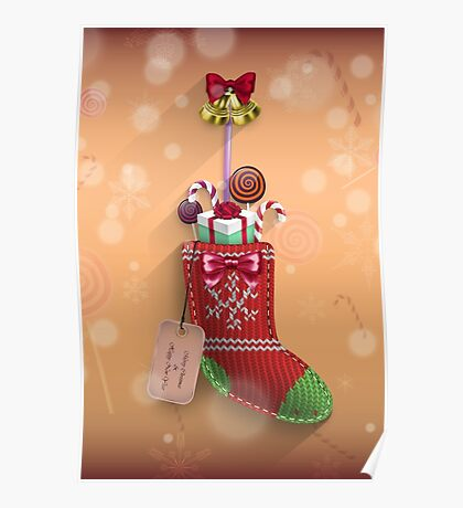 Knit Stocking Christmas Card Poster