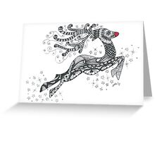 Doodle art Rudolph Greeting Card