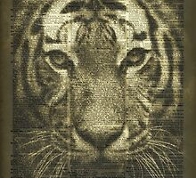 Tiger over Dictionary Page  by DictionaryArt
