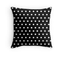 Small White Polka Dots on Black background Throw Pillow