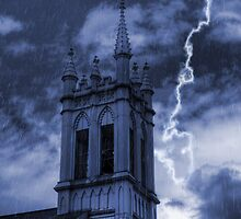 Church Bell Tower in Storm by Michael Mill
