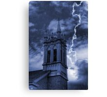 Church Bell Tower in Storm Canvas Print