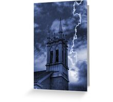 Church Bell Tower in Storm Greeting Card