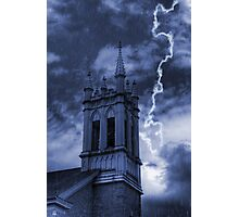 Church Bell Tower in Storm Photographic Print