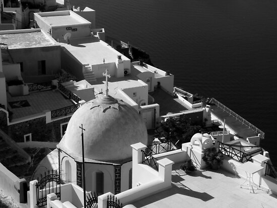 Santorini Domed Church ~ Black & White by Lucinda Walter