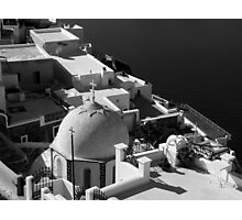 Santorini Domed Church ~ Black & White Photographic Print