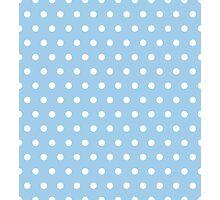 Small White Polka Dots on LightBlue background Photographic Print
