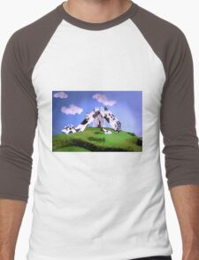 Cow Slide Men's Baseball ¾ T-Shirt