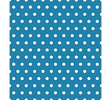 Small White Polka Dots on Blue background Photographic Print