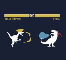 Dinosaur Street Fighter - Velociraptor vs T-Rex (white design) by jezkemp