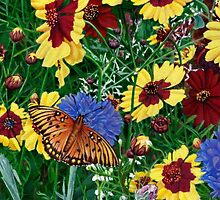 Butterfly Wildflowers garden oil painting Floral by Walt Curlee