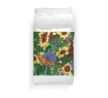Butterfly Wildflowers garden oil painting Floral Duvet Cover